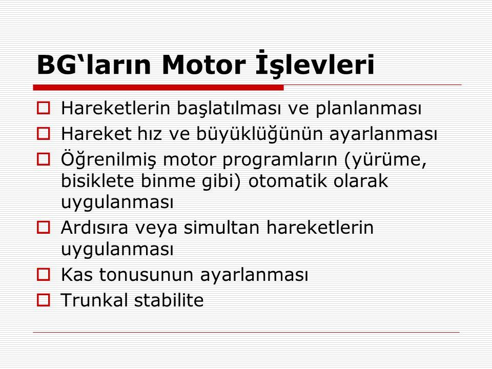 BG'ların Motor İşlevleri  Hareketlerin başlatılması ve planlanması  Hareket hız ve büyüklüğünün ayarlanması  Öğrenilmiş motor programların (yürüme,