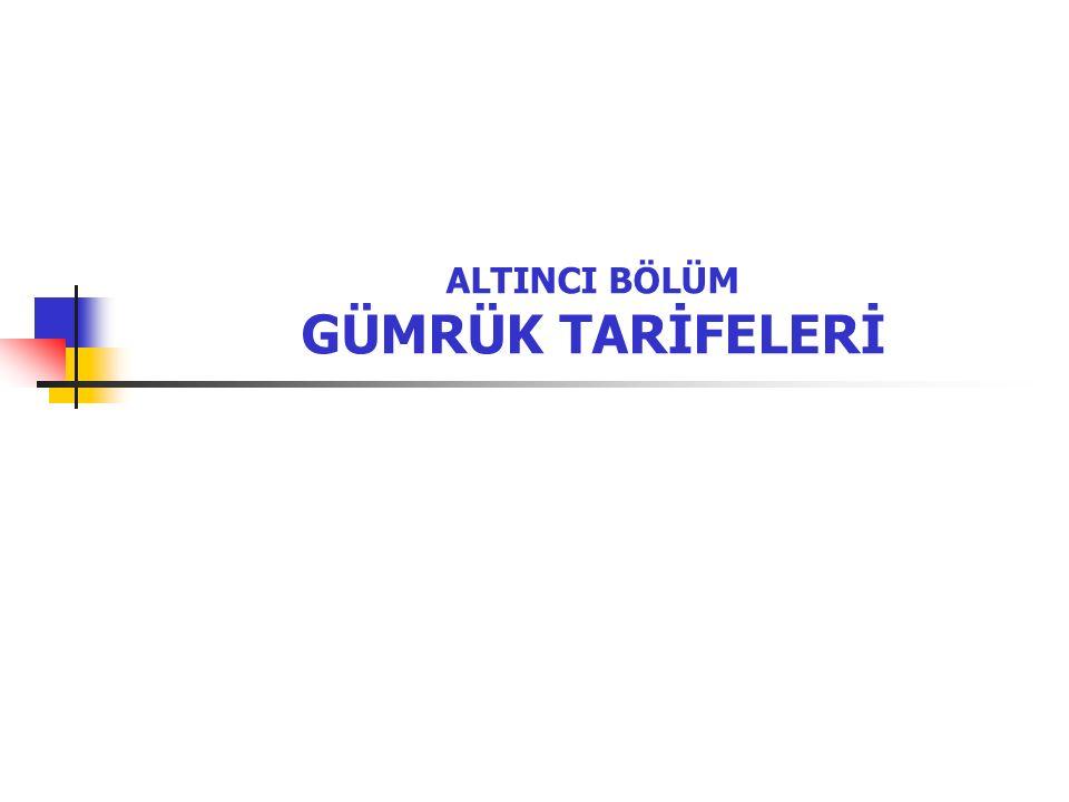 2 Giriş Tarife, çeşitli mallara uygulanacak vergi oranlarını gösteren listeleri ifade eder.