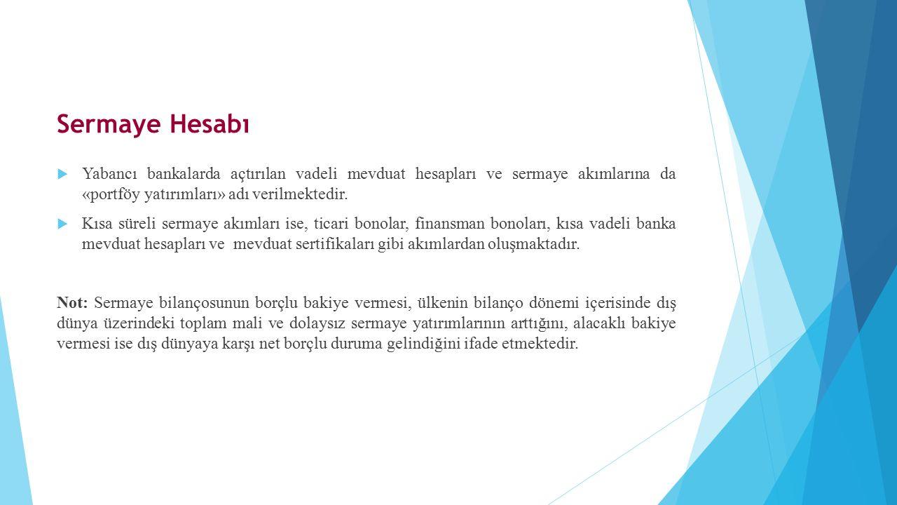  Yabancı bankalarda açtırılan vadeli mevduat hesapları ve sermaye akımlarına da «portföy yatırımları» adı verilmektedir.