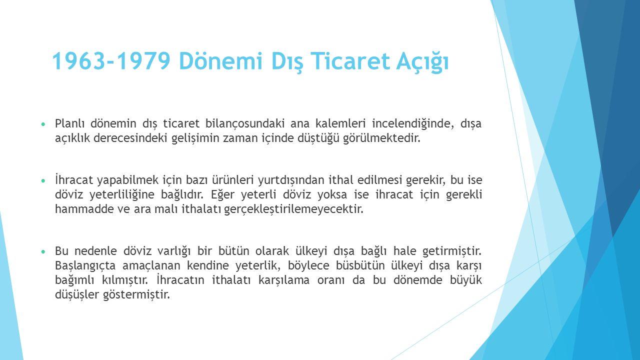 1963-1979 Dönemi Dış Ticaret Açığı Planlı dönemin dış ticaret bilançosundaki ana kalemleri incelendiğinde, dışa açıklık derecesindeki gelişimin zaman içinde düştüğü görülmektedir.