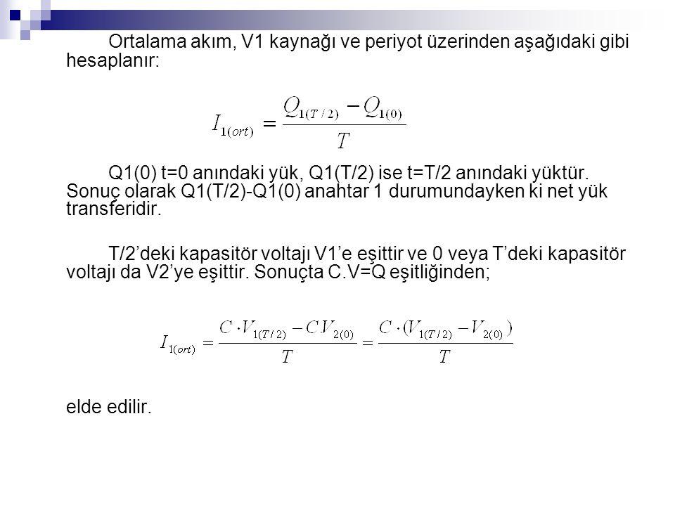 Ortalama akım, V1 kaynağı ve periyot üzerinden aşağıdaki gibi hesaplanır: Q1(0) t=0 anındaki yük, Q1(T/2) ise t=T/2 anındaki yüktür.