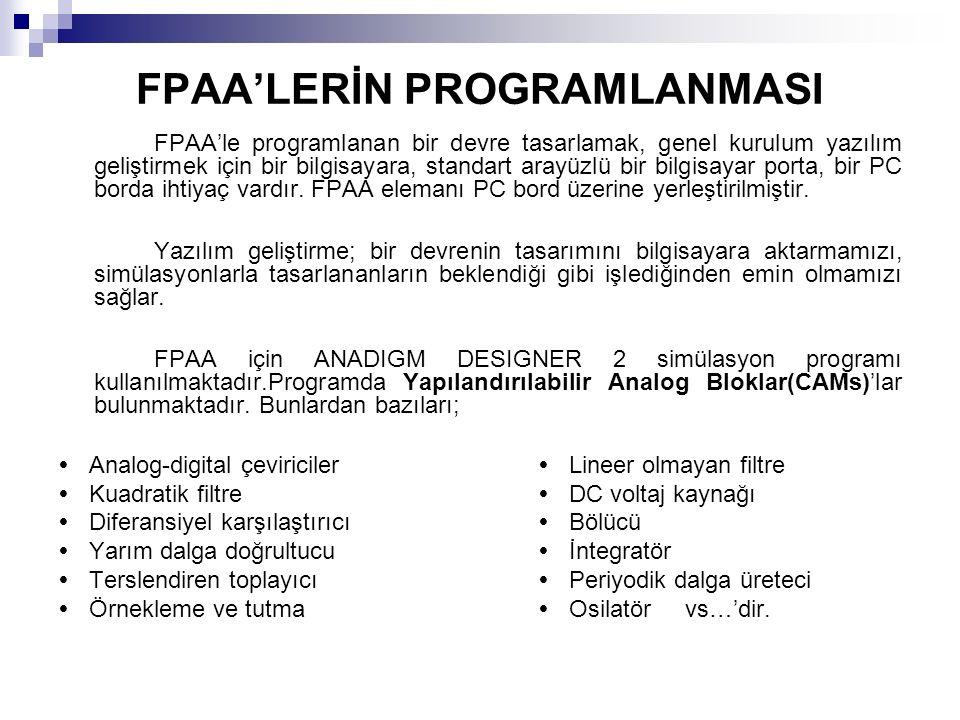 FPAA'LERİN PROGRAMLANMASI FPAA'le programlanan bir devre tasarlamak, genel kurulum yazılım geliştirmek için bir bilgisayara, standart arayüzlü bir bilgisayar porta, bir PC borda ihtiyaç vardır.