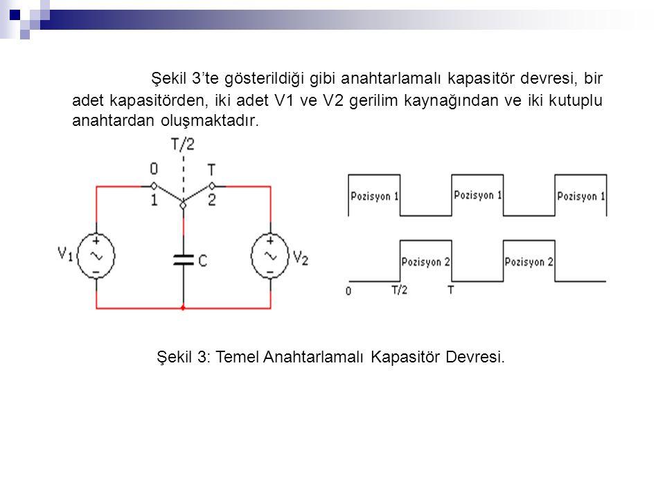 Şekil 3'te gösterildiği gibi anahtarlamalı kapasitör devresi, bir adet kapasitörden, iki adet V1 ve V2 gerilim kaynağından ve iki kutuplu anahtardan oluşmaktadır.