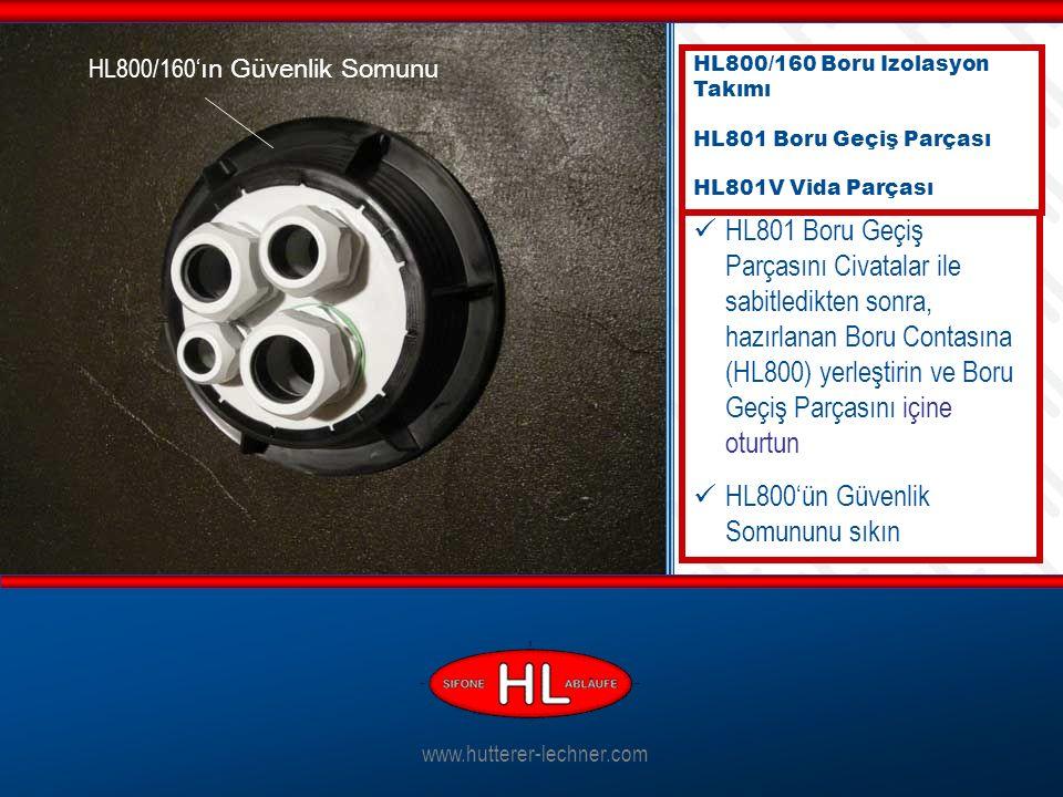 www.hutterer-lechner.com HL801 Boru Geçiş Parçasını Civatalar ile sabitledikten sonra, hazırlanan Boru Contasına (HL800) yerleştirin ve Boru Geçiş Parçasını içine oturtun HL800'ün Güvenlik Somununu sıkın HL800/160 Boru Izolasyon Takımı HL801 Boru Geçiş Parçası HL801V Vida Parçası HL800/160' ın Güvenlik Somunu