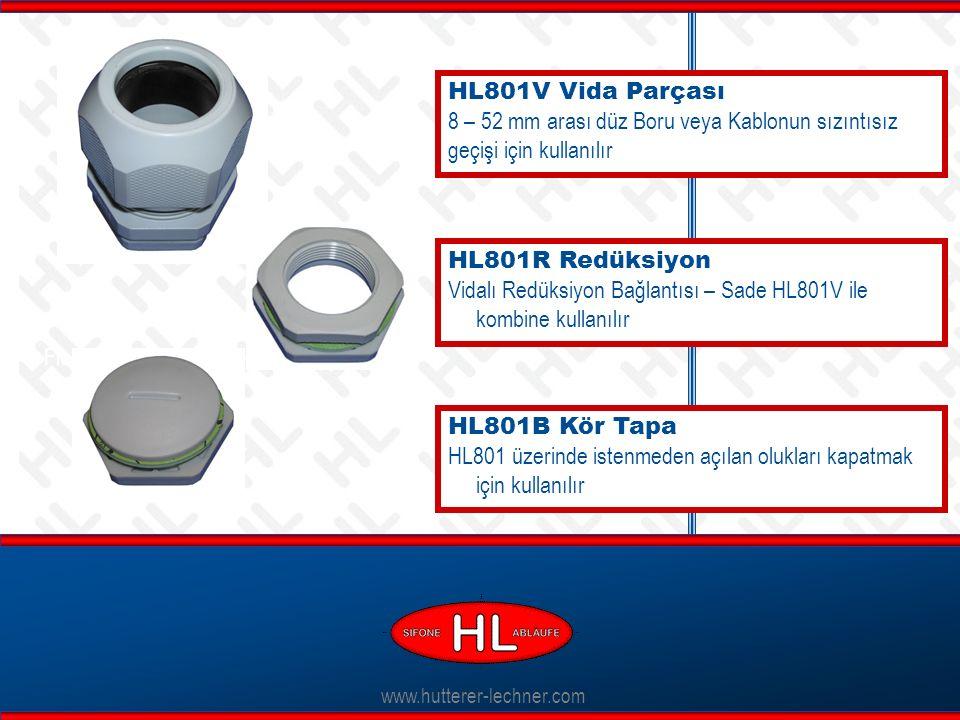 www.hutterer-lechner.com HL801V Vida Parçası 8 – 52 mm arası düz Boru veya Kablonun sızıntısız geçişi için kullanılır Flexible Dichtlippen HL801R Redüksiyon Vidalı Redüksiyon Bağlantısı – Sade HL801V ile kombine kullanılır HL801B Kör Tapa HL801 üzerinde istenmeden açılan olukları kapatmak için kullanılır