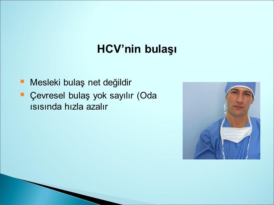 HCV'nin bulaşı  Mesleki bulaş net değildir  Çevresel bulaş yok sayılır (Oda ısısında hızla azalır