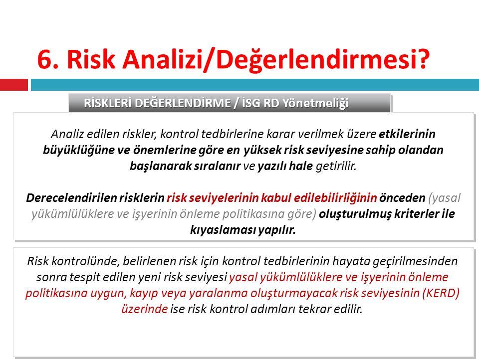 6. Risk Analizi/Değerlendirmesi? RİSKLERİ DEĞERLENDİRME / İSG RD Yönetmeliği Analiz edilen riskler, kontrol tedbirlerine karar verilmek üzere etkileri
