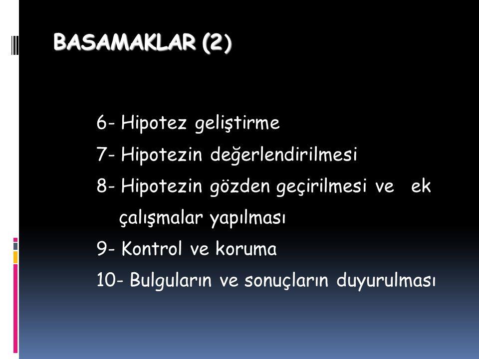 BASAMAKLAR (2 ) 6- Hipotez geliştirme 7- Hipotezin değerlendirilmesi 8- Hipotezin gözden geçirilmesi ve ek çalışmalar yapılması 9- Kontrol ve koruma 10- Bulguların ve sonuçların duyurulması