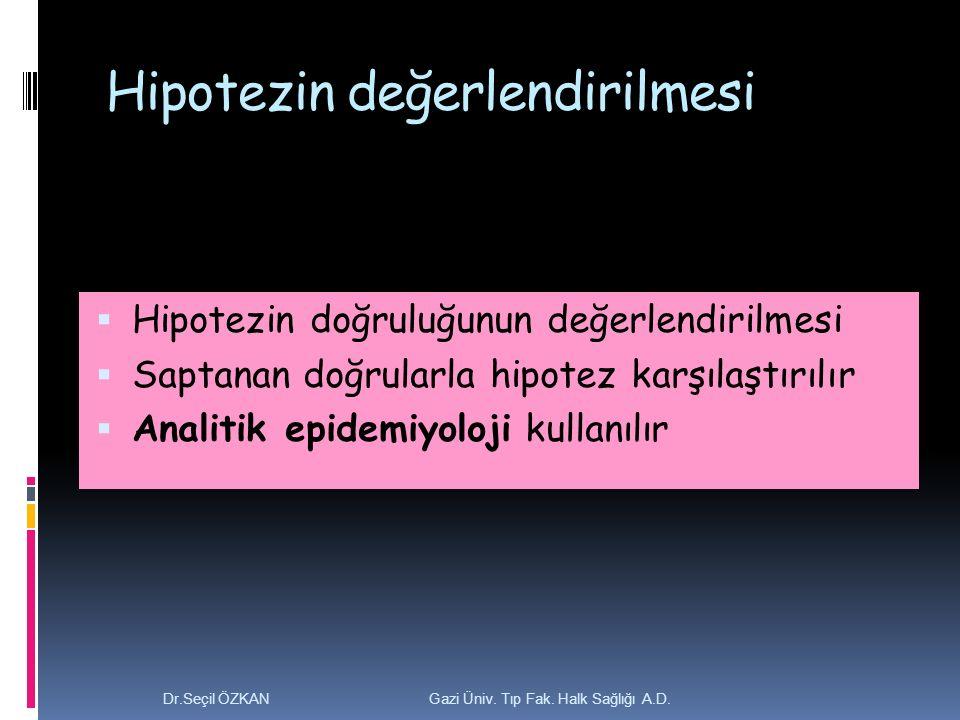 Hipotezin değerlendirilmesi  Hipotezin doğruluğunun değerlendirilmesi  Saptanan doğrularla hipotez karşılaştırılır  Analitik epidemiyoloji kullanılır Dr.Seçil ÖZKAN Gazi Üniv.