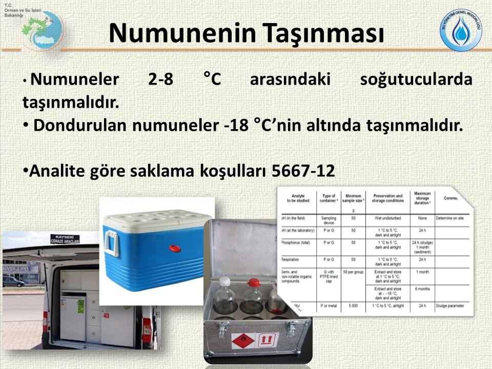 Numuneler 2-8 °C arasındaki soğutucularda taşınmalıdır.
