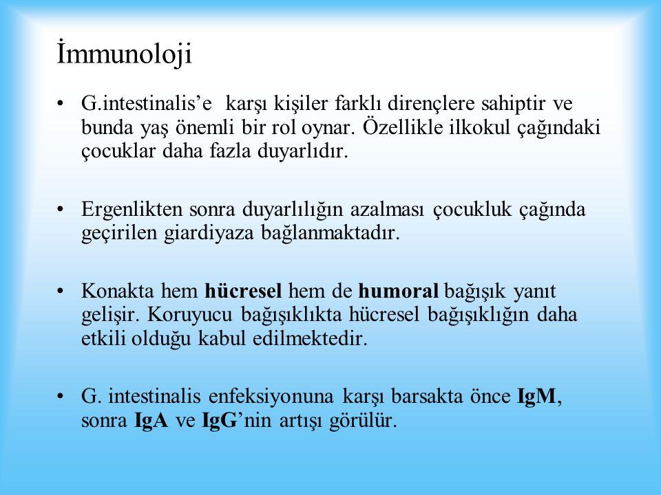 İmmunoloji G.intestinalis'e karşı kişiler farklı dirençlere sahiptir ve bunda yaş önemli bir rol oynar.
