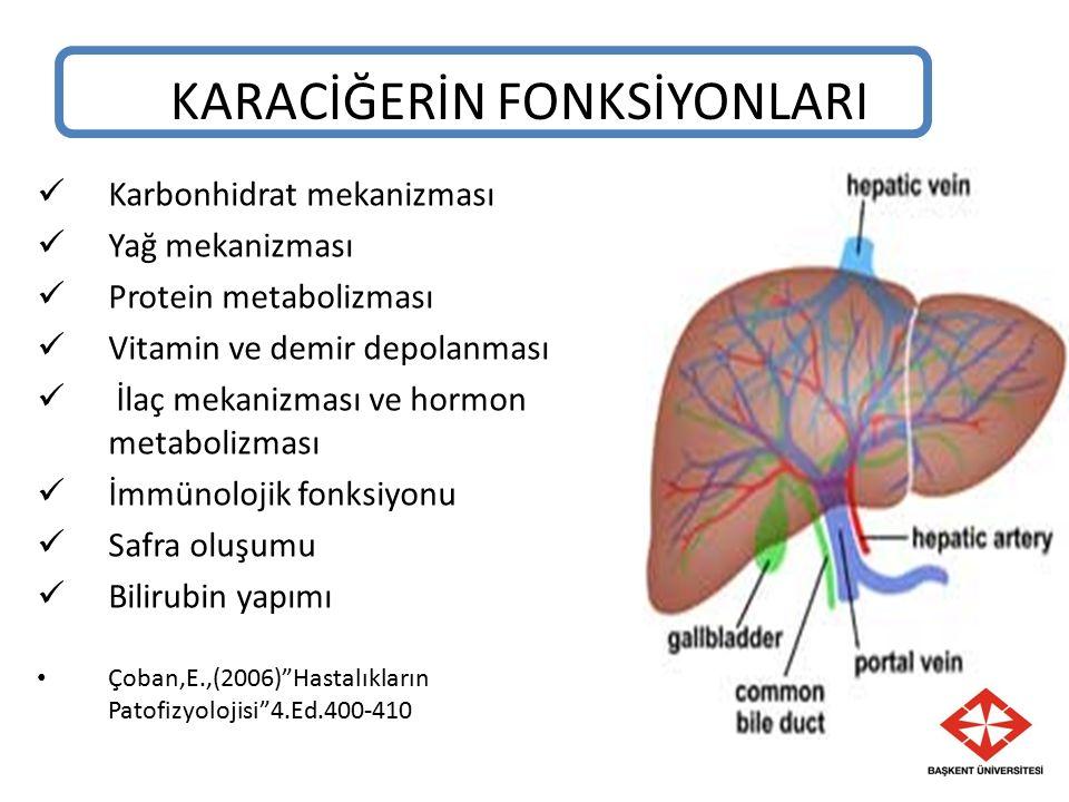 KARACİĞERİN FONKSİYONLARI Karbonhidrat mekanizması Yağ mekanizması Protein metabolizması Vitamin ve demir depolanması İlaç mekanizması ve hormon metabolizması İmmünolojik fonksiyonu Safra oluşumu Bilirubin yapımı Çoban,E.,(2006) Hastalıkların Patofizyolojisi 4.Ed.400-410