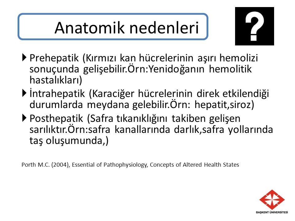  Prehepatik (Kırmızı kan hücrelerinin aşırı hemolizi sonuçunda gelişebilir.Örn:Yenidoğanın hemolitik hastalıkları)  İntrahepatik (Karaciğer hücrelerinin direk etkilendiği durumlarda meydana gelebilir.Örn: hepatit,siroz)  Posthepatik (Safra tıkanıklığını takiben gelişen sarılıktır.Örn:safra kanallarında darlık,safra yollarında taş oluşumunda,) Porth M.C.