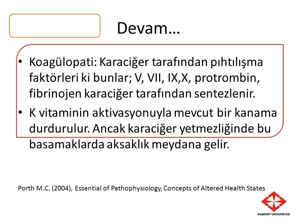 Koagülopati: Karaciğer tarafından pıhtılışma faktörleri ki bunlar; V, VII, IX,X, protrombin, fibrinojen karaciğer tarafından sentezlenir.