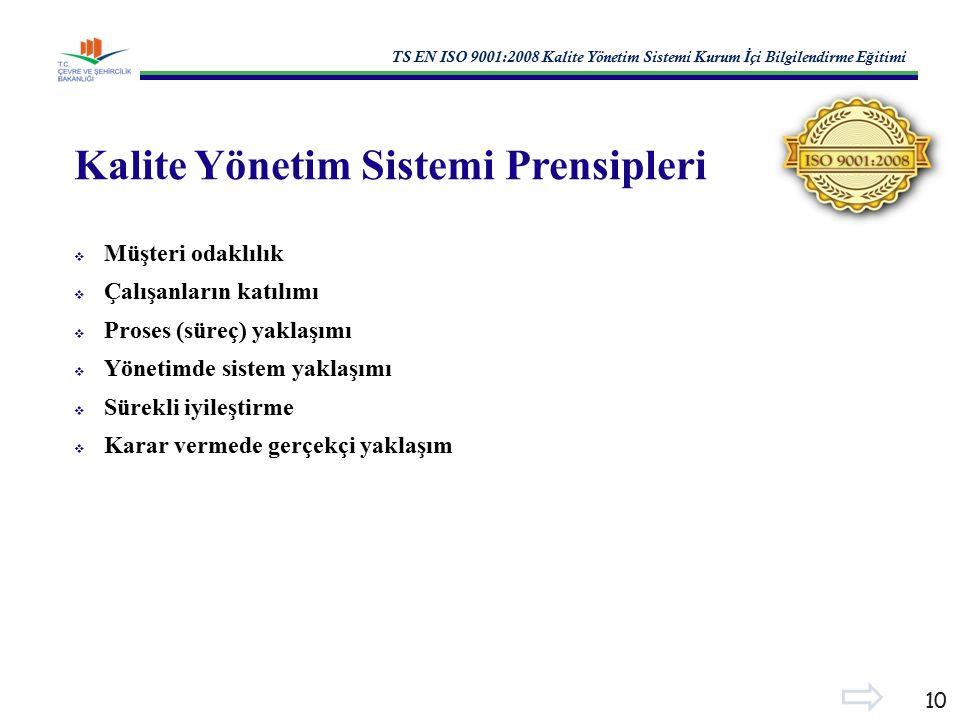 TS EN ISO 9001:2008 Kalite Yönetim Sistemi Kurum İ çi Bilgilendirme E ğ itimi 10 Kalite Yönetim Sistemi Prensipleri  Müşteri odaklılık  Çalışanların katılımı  Proses (süreç) yaklaşımı  Yönetimde sistem yaklaşımı  Sürekli iyileştirme  Karar vermede gerçekçi yaklaşım