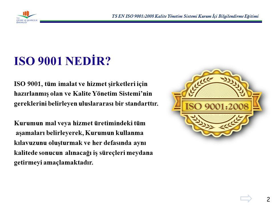 TS EN ISO 9001:2008 Kalite Yönetim Sistemi Kurum İ çi Bilgilendirme E ğ itimi 2 ISO 9001 NEDİR.