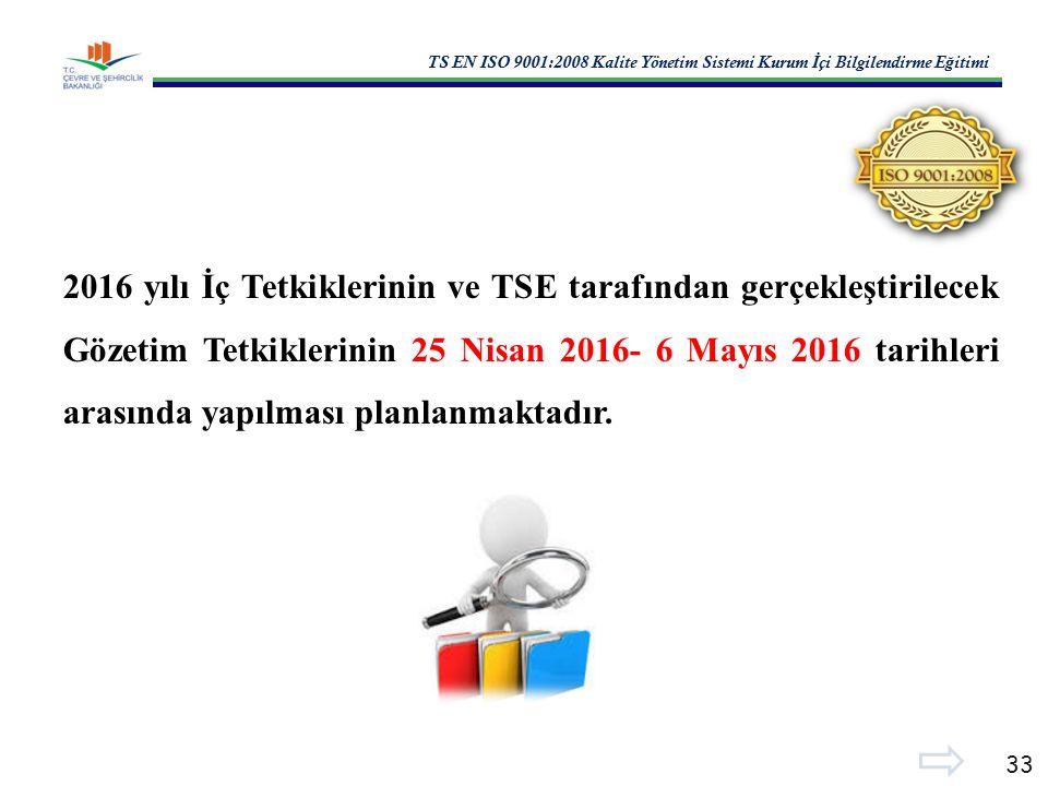 TS EN ISO 9001:2008 Kalite Yönetim Sistemi Kurum İ çi Bilgilendirme E ğ itimi 33 2016 yılı İç Tetkiklerinin ve TSE tarafından gerçekleştirilecek Gözetim Tetkiklerinin 25 Nisan 2016- 6 Mayıs 2016 tarihleri arasında yapılması planlanmaktadır.