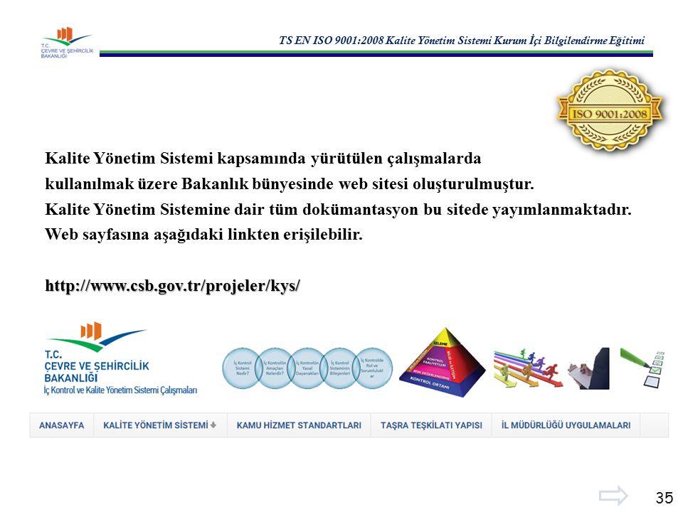 TS EN ISO 9001:2008 Kalite Yönetim Sistemi Kurum İ çi Bilgilendirme E ğ itimi 35 Kalite Yönetim Sistemi kapsamında yürütülen çalışmalarda kullanılmak üzere Bakanlık bünyesinde web sitesi oluşturulmuştur.