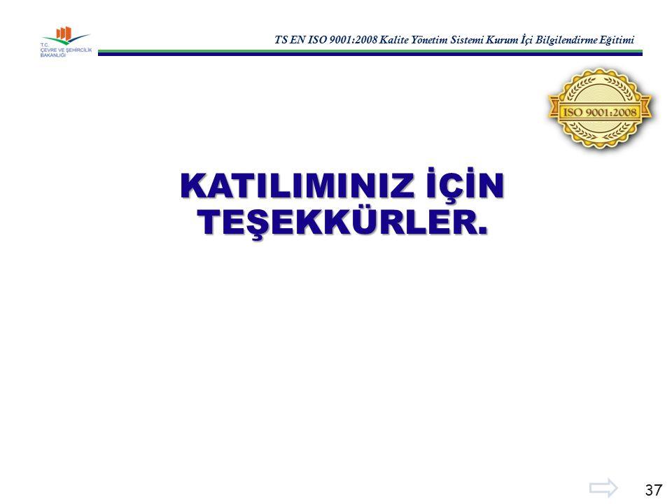 TS EN ISO 9001:2008 Kalite Yönetim Sistemi Kurum İ çi Bilgilendirme E ğ itimi 37 KATILIMINIZ İÇİN TEŞEKKÜRLER.