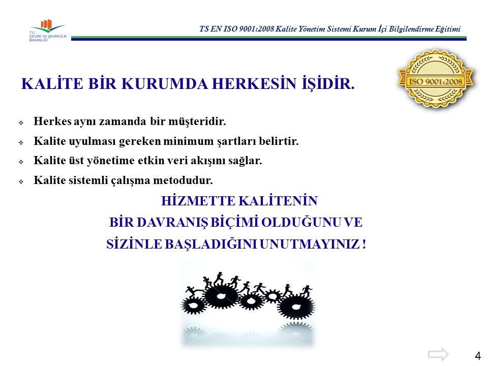 TS EN ISO 9001:2008 Kalite Yönetim Sistemi Kurum İ çi Bilgilendirme E ğ itimi 4 KALİTE BİR KURUMDA HERKESİN İŞİDİR.