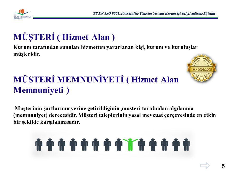 TS EN ISO 9001:2008 Kalite Yönetim Sistemi Kurum İ çi Bilgilendirme E ğ itimi 5 MÜŞTERİ ( Hizmet Alan ) Kurum tarafından sunulan hizmetten yararlanan kişi, kurum ve kuruluşlar müşteridir.