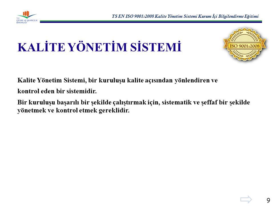TS EN ISO 9001:2008 Kalite Yönetim Sistemi Kurum İ çi Bilgilendirme E ğ itimi 9 KALİTE YÖNETİM SİSTEMİ Kalite Yönetim Sistemi, bir kuruluşu kalite açısından yönlendiren ve kontrol eden bir sistemidir.