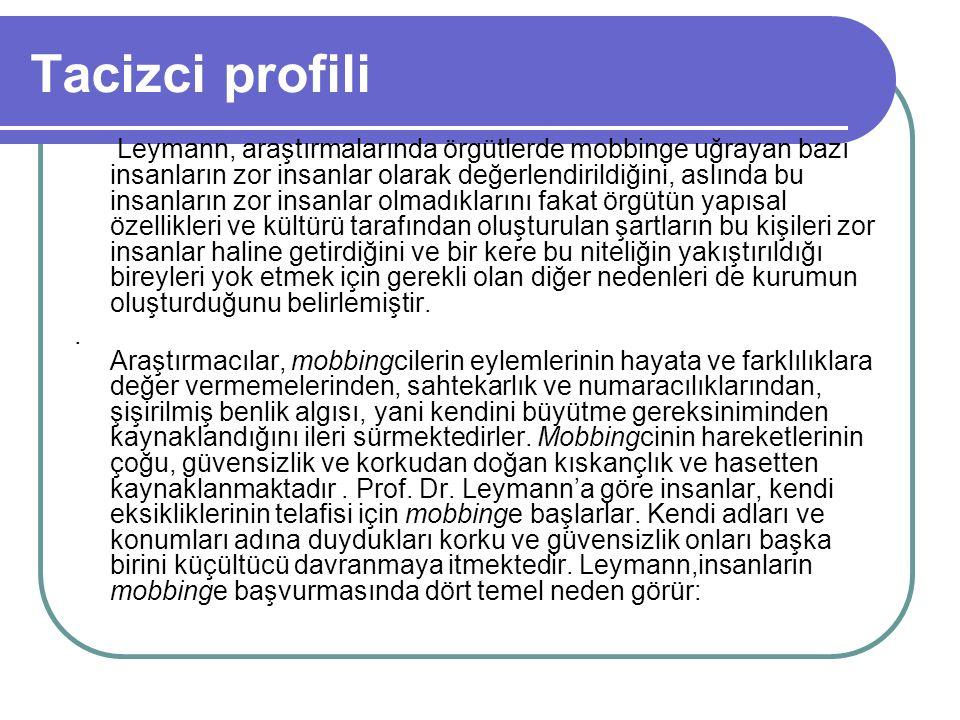 Tacizci profili Leymann, araştırmalarında örgütlerde mobbinge uğrayan bazı insanların zor insanlar olarak değerlendirildiğini, aslında bu insanların z