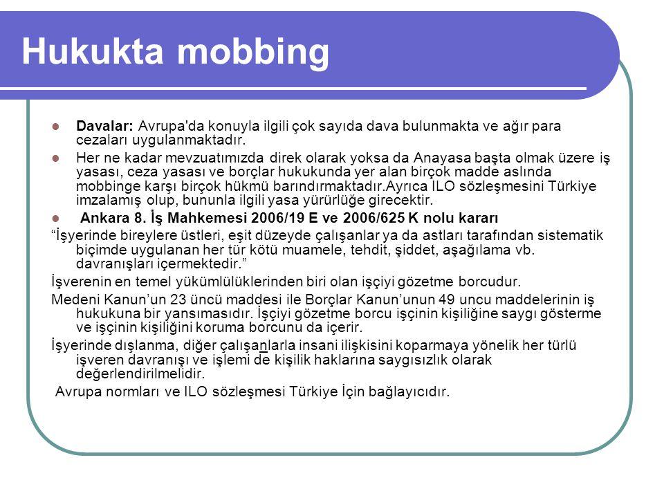 Hukukta mobbing Davalar: Avrupa'da konuyla ilgili çok sayıda dava bulunmakta ve ağır para cezaları uygulanmaktadır. Her ne kadar mevzuatımızda direk o