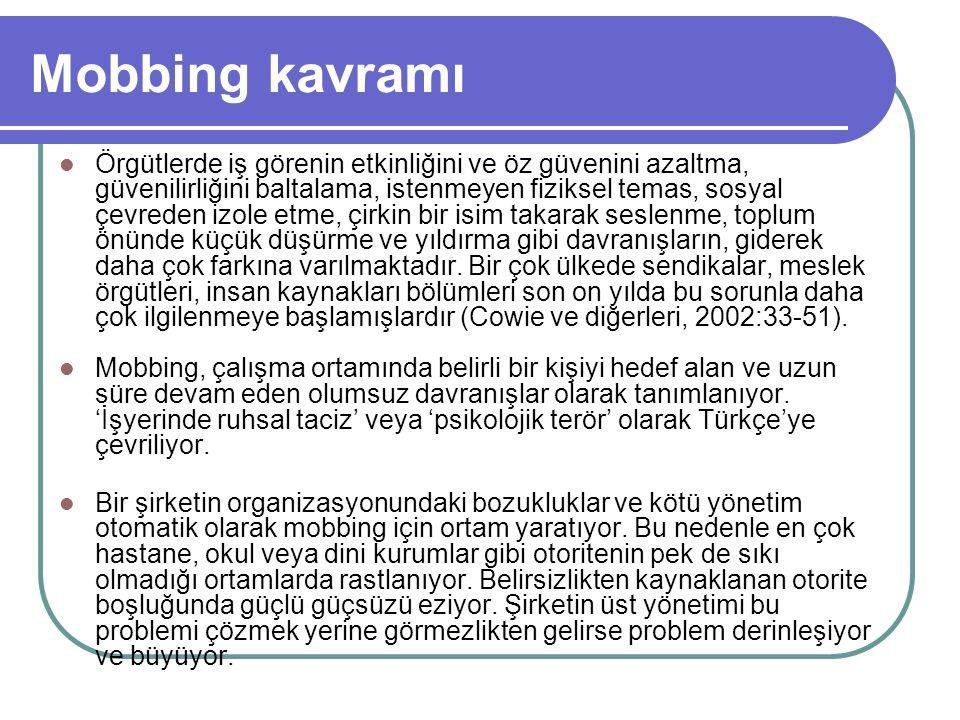 Mobbing kavramı Bu olguya yönelik batı literatüründeki terminoloji sorunu Türkçe literatür için de geçerlidir.