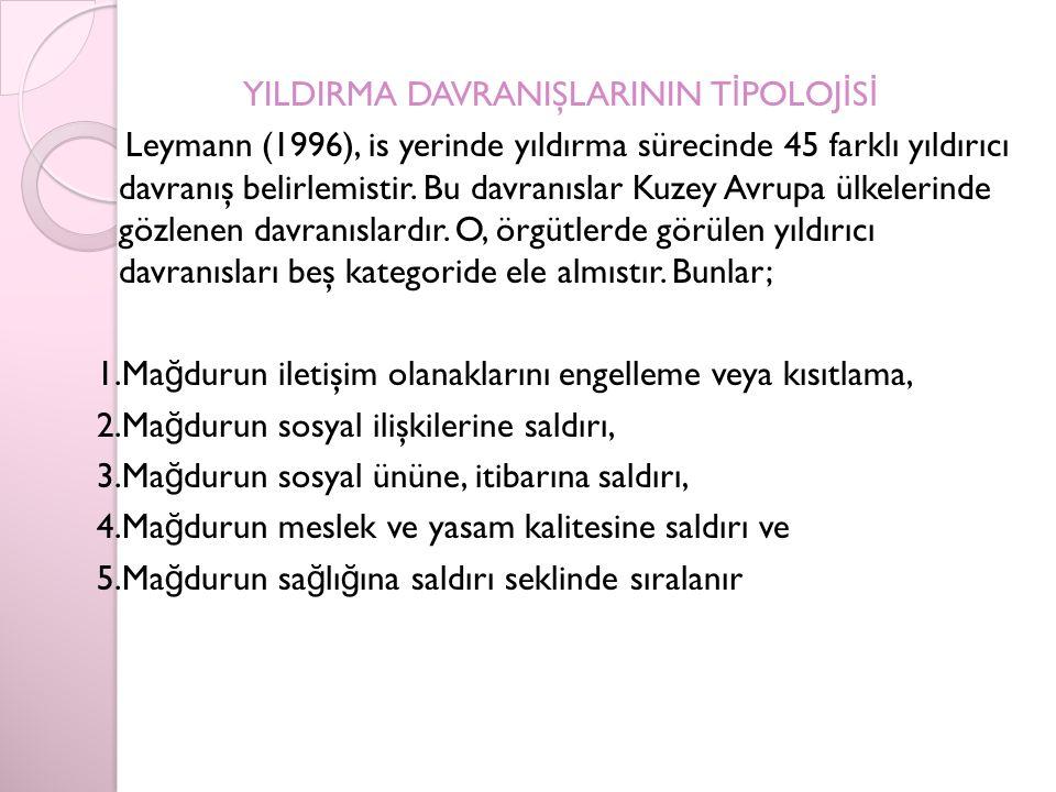 YILDIRMA DAVRANIŞLARININ T İ POLOJ İ S İ Leymann (1996), is yerinde yıldırma sürecinde 45 farklı yıldırıcı davranış belirlemistir.