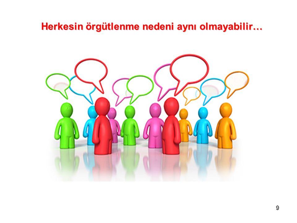 9 Herkesin örgütlenme nedeni aynı olmayabilir…