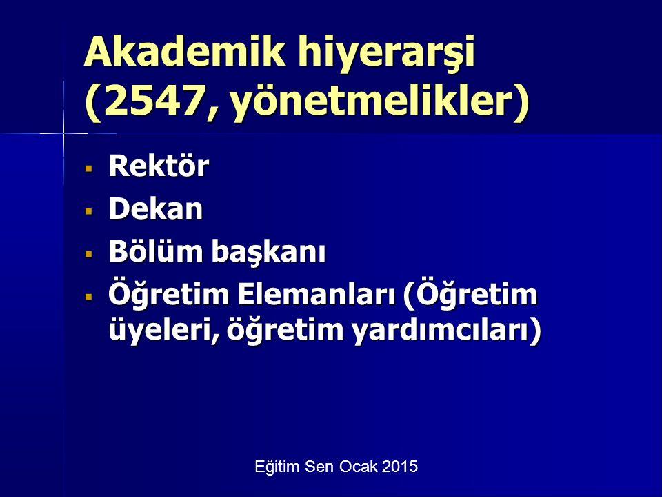 Eğitim Sen Ocak 2015 Akademik hiyerarşi (2547, yönetmelikler)  Rektör  Dekan  Bölüm başkanı  Öğretim Elemanları (Öğretim üyeleri, öğretim yardımcıları)