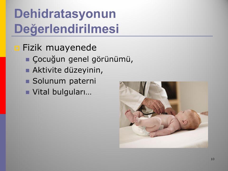 10 Dehidratasyonun Değerlendirilmesi  Fizik muayenede Çocuğun genel görünümü, Aktivite düzeyinin, Solunum paterni Vital bulguları…