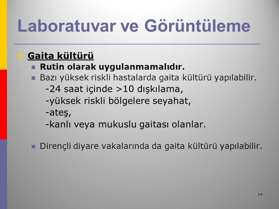 14 Laboratuvar ve Görüntüleme  Gaita kültürü Rutin olarak uygulanmamalıdır.