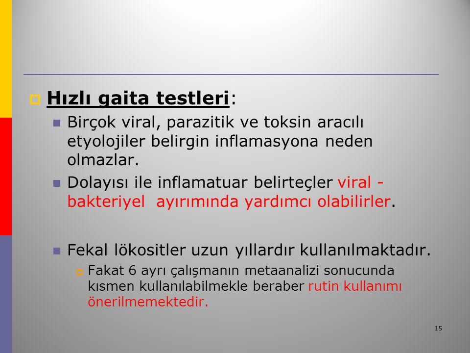 15  Hızlı gaita testleri: Birçok viral, parazitik ve toksin aracılı etyolojiler belirgin inflamasyona neden olmazlar.