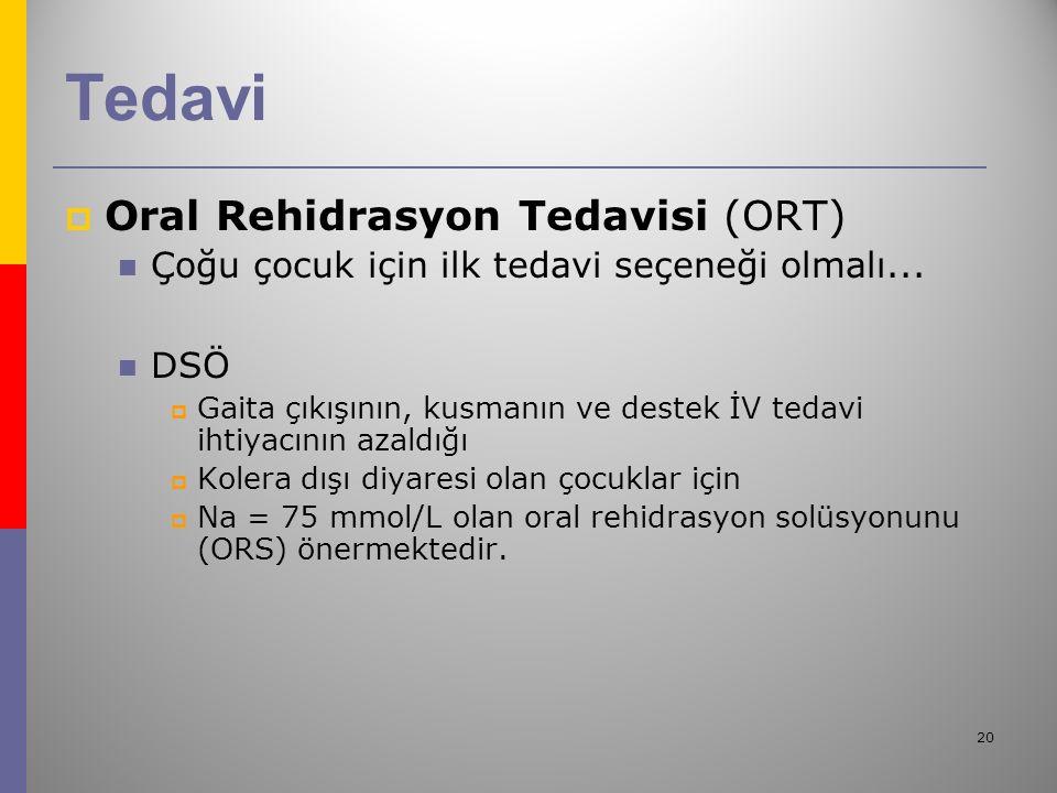 20 Tedavi  Oral Rehidrasyon Tedavisi (ORT) Çoğu çocuk için ilk tedavi seçeneği olmalı...