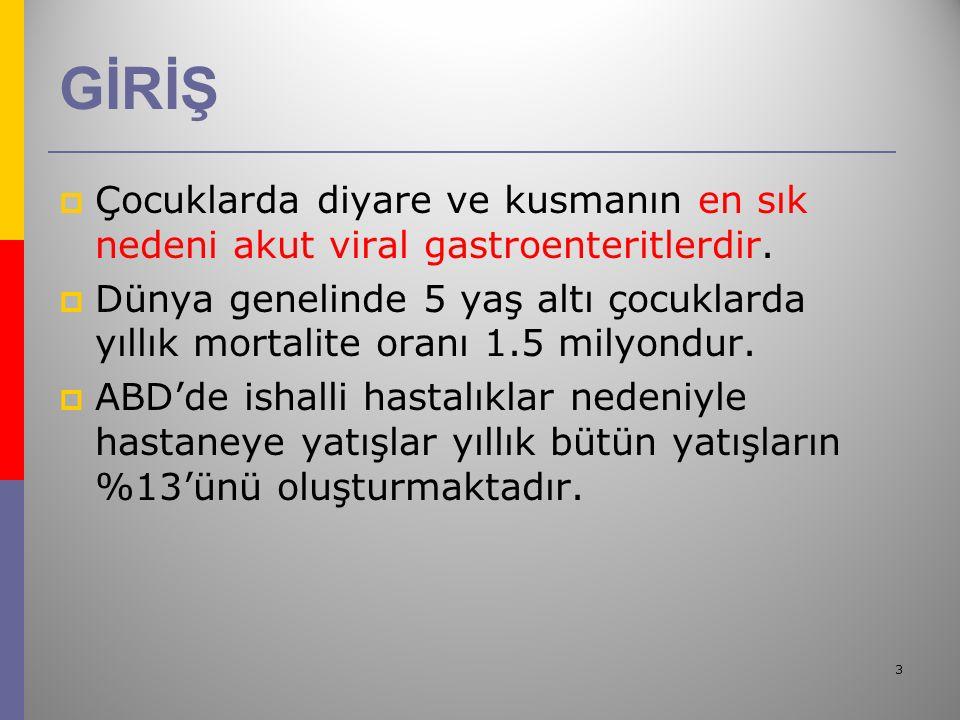 3 GİRİŞ  Çocuklarda diyare ve kusmanın en sık nedeni akut viral gastroenteritlerdir.