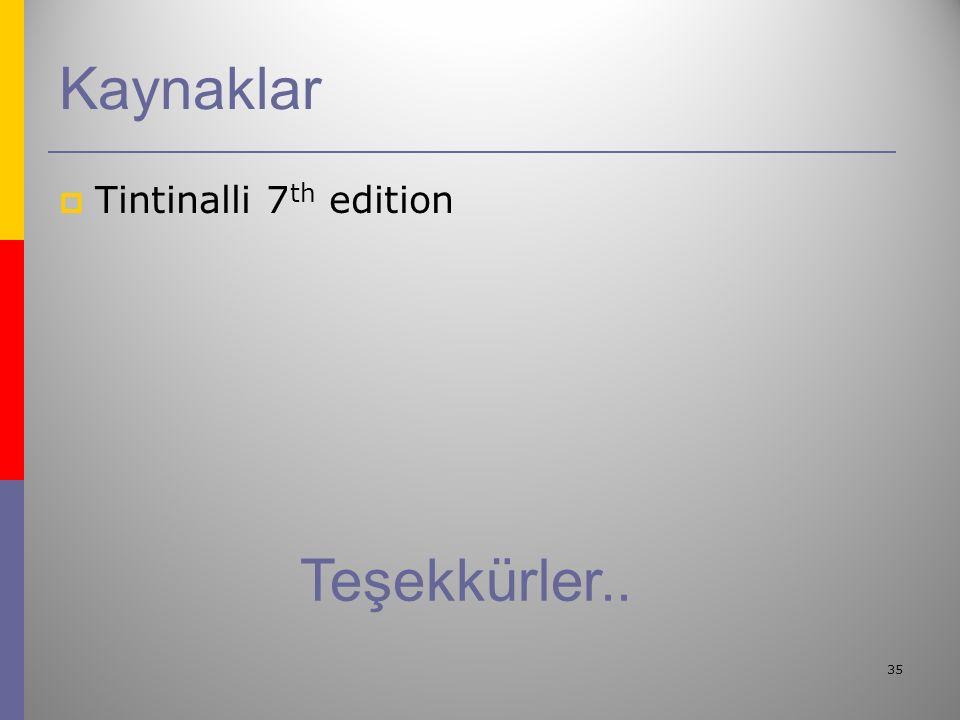 35 Kaynaklar  Tintinalli 7 th edition Teşekkürler..