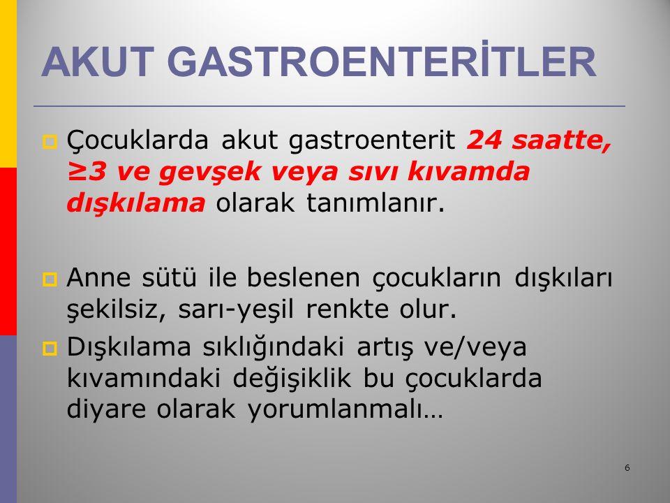 27  Antidiyare ilaçları güvenilirlik kaygısı ve etkinliklerini destekleyecek bilgilerin yokluğu nedeniyle önerilmez.
