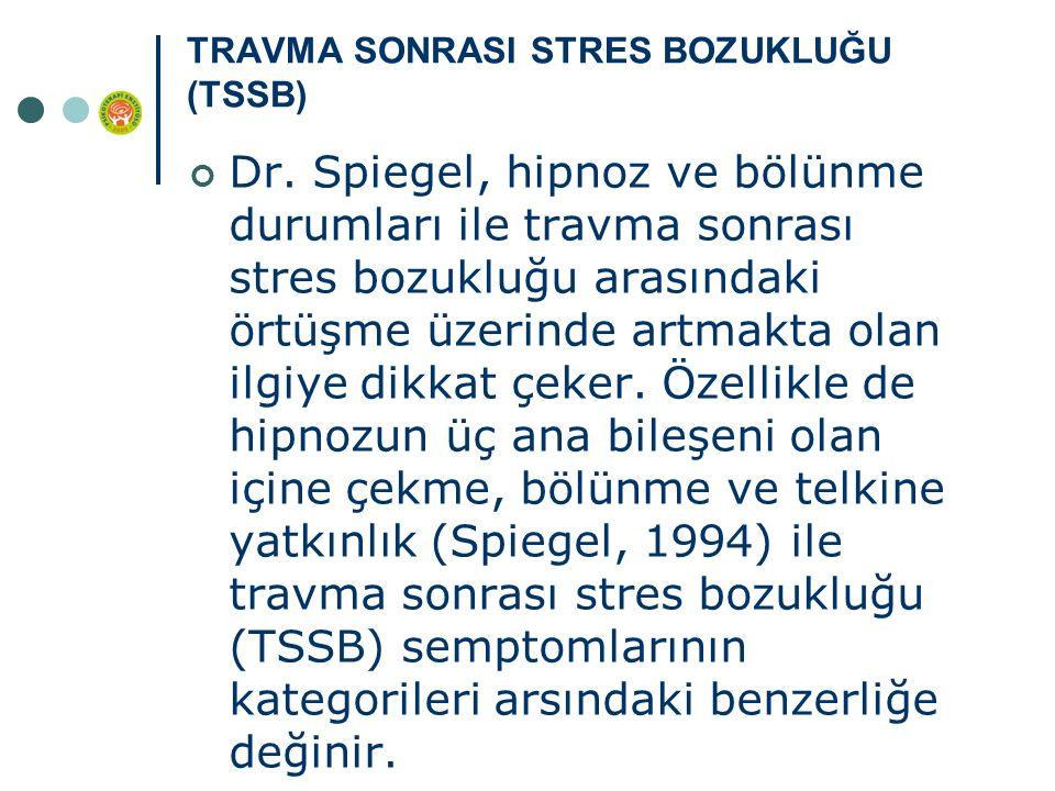 TRAVMA SONRASI STRES BOZUKLUĞU (TSSB) Dr. Spiegel, hipnoz ve bölünme durumları ile travma sonrası stres bozukluğu arasındaki örtüşme üzerinde artmakta