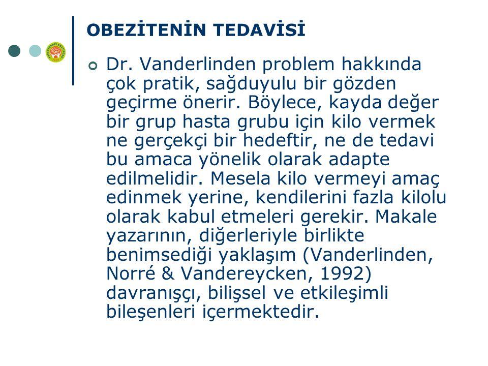 OBEZİTENİN TEDAVİSİ Dr. Vanderlinden problem hakkında çok pratik, sağduyulu bir gözden geçirme önerir. Böylece, kayda değer bir grup hasta grubu için