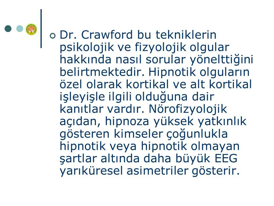 Dr. Crawford bu tekniklerin psikolojik ve fizyolojik olgular hakkında nasıl sorular yönelttiğini belirtmektedir. Hipnotik olguların özel olarak kortik