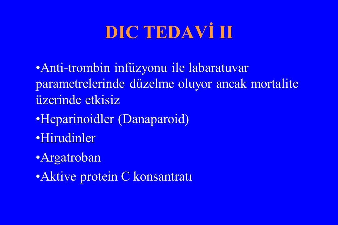 DIC TEDAVİ II Anti-trombin infüzyonu ile labaratuvar parametrelerinde düzelme oluyor ancak mortalite üzerinde etkisiz Heparinoidler (Danaparoid) Hirud