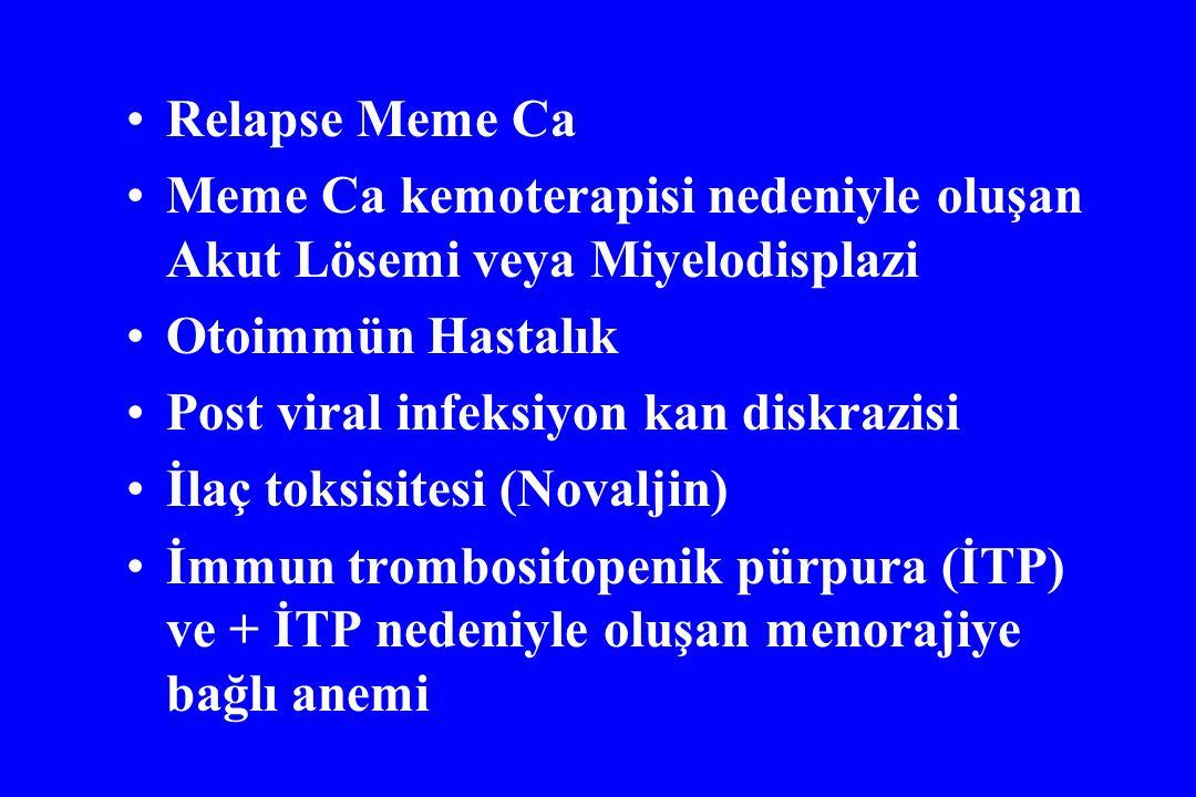 Relapse Meme Ca Meme Ca kemoterapisi nedeniyle oluşan Akut Lösemi veya Miyelodisplazi Otoimmün Hastalık Post viral infeksiyon kan diskrazisi İlaç toks