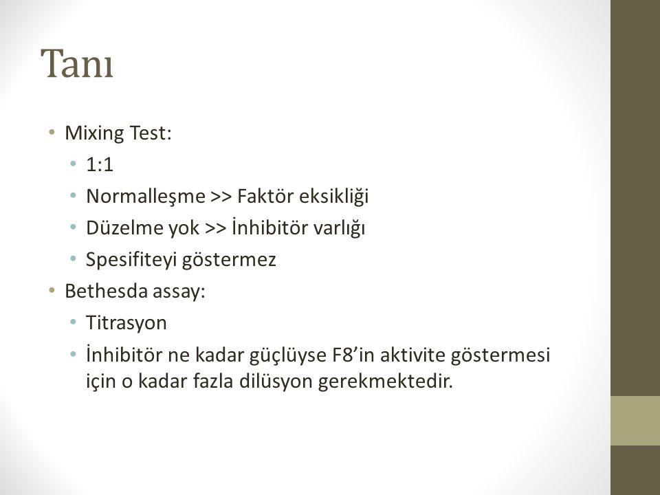 Tanı Mixing Test: 1:1 Normalleşme >> Faktör eksikliği Düzelme yok >> İnhibitör varlığı Spesifiteyi göstermez Bethesda assay: Titrasyon İnhibitör ne ka