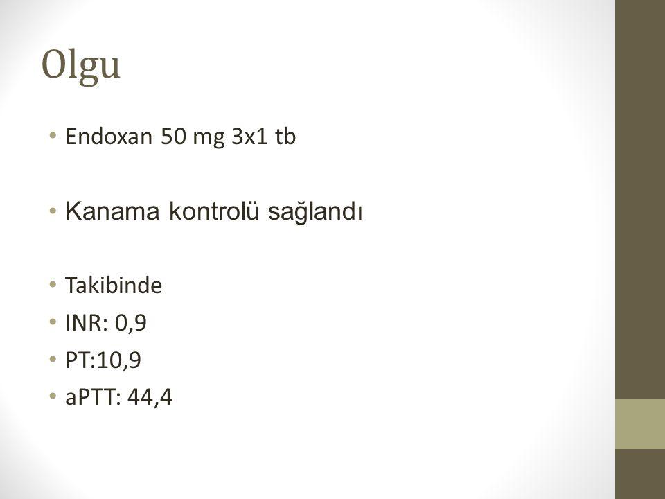 Olgu Endoxan 50 mg 3x1 tb Kanama kontrolü sağlandı Takibinde INR: 0,9 PT:10,9 aPTT: 44,4