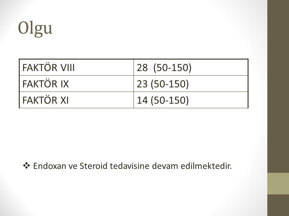 FAKTÖR VIII28 (50-150) FAKTÖR IX23 (50-150) FAKTÖR XI14 (50-150)  Endoxan ve Steroid tedavisine devam edilmektedir. Olgu