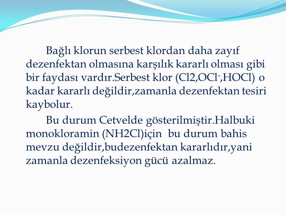 Bağlı klorun serbest klordan daha zayıf dezenfektan olmasına karşılık kararlı olması gibi bir faydası vardır.Serbest klor (Cl2,OCl -,HOCl) o kadar kararlı değildir,zamanla dezenfektan tesiri kaybolur.