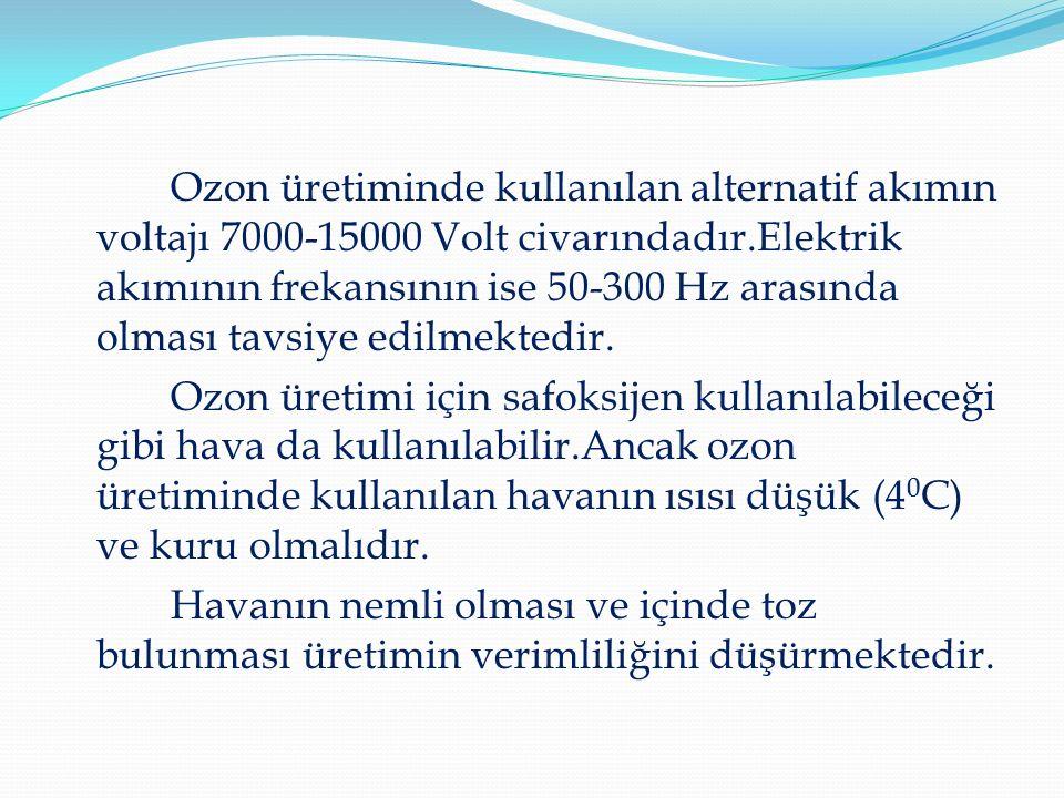 Ozon üretiminde kullanılan alternatif akımın voltajı 7000-15000 Volt civarındadır.Elektrik akımının frekansının ise 50-300 Hz arasında olması tavsiye edilmektedir.