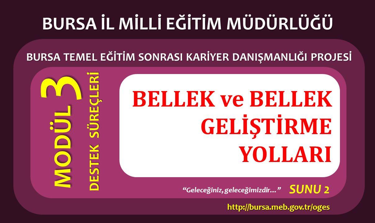 """BELLEK ve BELLEK GELİŞTİRME YOLLARI BURSA İL MİLLİ EĞİTİM MÜDÜRLÜĞÜ BURSA TEMEL EĞİTİM SONRASI KARİYER DANIŞMANLIĞI PROJESİ MODÜL 3 DESTEK SÜREÇLERİ """""""